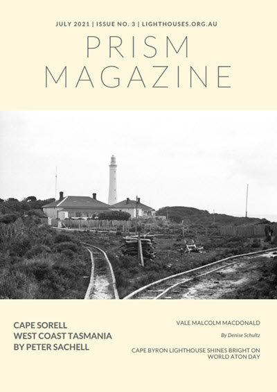 Cover of Prism Magazine Issue 3 2021 showing Cape Sorell Lighthouse